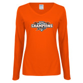 Ladies Orange Long Sleeve V Neck T Shirt-2017 Big West Track & Field Champions