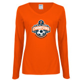 Ladies Orange Long Sleeve V Neck T Shirt-2017 Big West Womens Soccer Champions