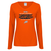 Ladies Orange Long Sleeve V Neck T Shirt-2018 Mens Basketball Champions - Brush