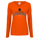 Ladies Orange Long Sleeve V Neck T Shirt-2018 Mens Basketball Champions - Net w/ Basketball