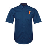 Navy Twill Button Down Short Sleeve-F