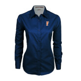 Ladies Navy Twill Button Down Long Sleeve-F