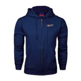Navy Fleece Full Zip Hood-Primary Logo