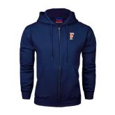 Navy Fleece Full Zip Hood-F
