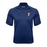 Navy Textured Saddle Shoulder Polo-F