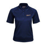 Ladies Navy Textured Saddle Shoulder Polo-Primary Logo