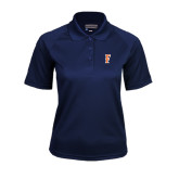 Ladies Navy Textured Saddle Shoulder Polo-F