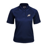 Ladies Navy Textured Saddle Shoulder Polo-Alternate Head