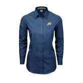 Ladies Deep Blue Tonal Pattern Long Sleeve Shirt-Alternate Head