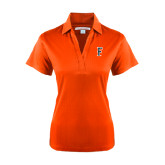 Ladies Orange Performance Fine Jacquard Polo-F