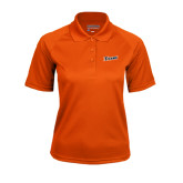 Ladies Orange Textured Saddle Shoulder Polo-Primary Logo