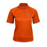 Ladies Orange Textured Saddle Shoulder Polo-F