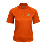Ladies Orange Textured Saddle Shoulder Polo-Alternate Head