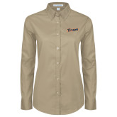 Ladies Khaki Twill Button Down Long Sleeve-Primary Logo