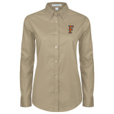 Ladies Khaki Twill Button Down Long Sleeve-F