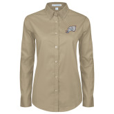 Ladies Khaki Twill Button Down Long Sleeve-Alternate Head