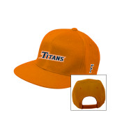 Orange Flat Bill Snapback Hat-Primary Logo