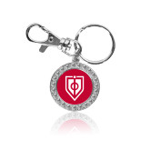 Crystal Studded Round Key Chain-Shield