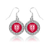 Crystal Studded Round Pendant Silver Dangle Earrings-Shield