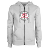 ENZA Ladies White Fleece Full Zip Hoodie-University Seal