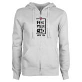 ENZA Ladies White Fleece Full Zip Hoodie-Feed Your Geek
