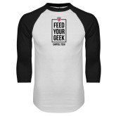White/Black Raglan Baseball T Shirt-Feed Your Geek