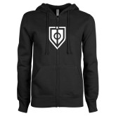ENZA Ladies Black Fleece Full Zip Hoodie-Shield