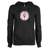 ENZA Ladies Black Fleece Full Zip Hoodie-University Seal