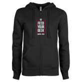 ENZA Ladies Black Fleece Full Zip Hoodie-Feed Your Geek