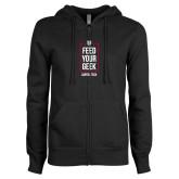 ENZA Ladies Black Fleece Full Zip Hoodie-Feed Your Geek