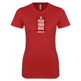 Next Level Ladies SoftStyle Junior Fitted Red Tee-Feed Your Geek