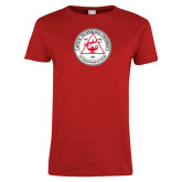 Ladies Red T Shirt-University Seal