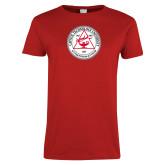 Ladies Red T Shirt-University Seal