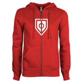 ENZA Ladies Red Fleece Full Zip Hoodie-Shield