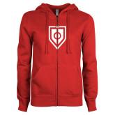 ENZA Ladies Red Fleece Full Zip Hoodie-Shield