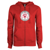 ENZA Ladies Red Fleece Full Zip Hoodie-University Seal