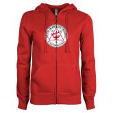 ENZA Ladies Red Fleece Full Zip Hoodie-University Seal