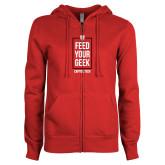 ENZA Ladies Red Fleece Full Zip Hoodie-Feed Your Geek