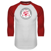 White/Red Raglan Baseball T Shirt-University Seal