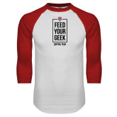 White/Red Raglan Baseball T Shirt-Feed Your Geek