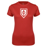 Ladies Syntrel Performance Red Tee-Shield