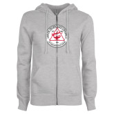 ENZA Ladies Grey Fleece Full Zip Hoodie-University Seal