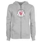 ENZA Ladies Grey Fleece Full Zip Hoodie-University Seal