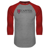 Grey/Red Raglan Baseball T Shirt-Primary Mark
