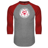 Grey/Red Raglan Baseball T Shirt-University Seal