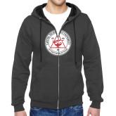 Charcoal Fleece Full Zip Hoodie-University Seal