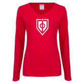 Ladies Red Long Sleeve V Neck T Shirt-Shield