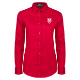 Ladies Red Twill Button Down Long Sleeve-Shield