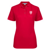 Ladies Easycare Red Pique Polo-Shield