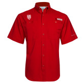 Columbia Tamiami Performance Red Short Sleeve Shirt-Shield